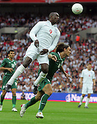 Emile Heskey goes close with a near post header during the international friendly match between England and Slovenia at Wembley Stadium, London on the 5th September 2009