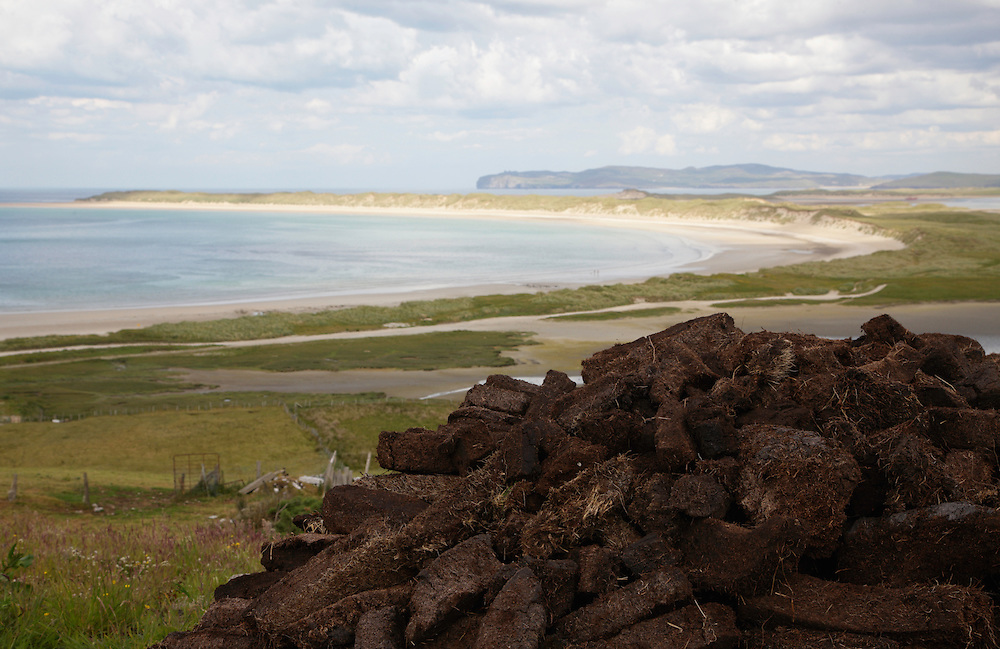 Coastline Donegal Ireland, peat pile