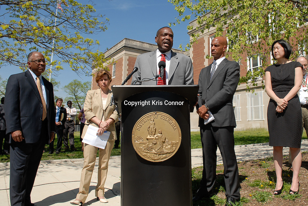 George Parker, President of the Washington Teachers' Union speaks during a press conference on the tentative agreement on the new contract between the Washington Teachers Union and District of Columbia Public Schools on the steps of Eliot Junior High School in Northeast Washington DC on April 7th, 2010