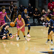 10 February 2018: The San Diego State Aztecs women's basketball team hosts Nevada on Play4Kay day at Viejas Arena. San Diego State Aztecs guard Te'a Adams (5) on a fast break after stealing the ball from a Nevada player in the first half. <br /> More game action at www.sdsuaztecphotos.com