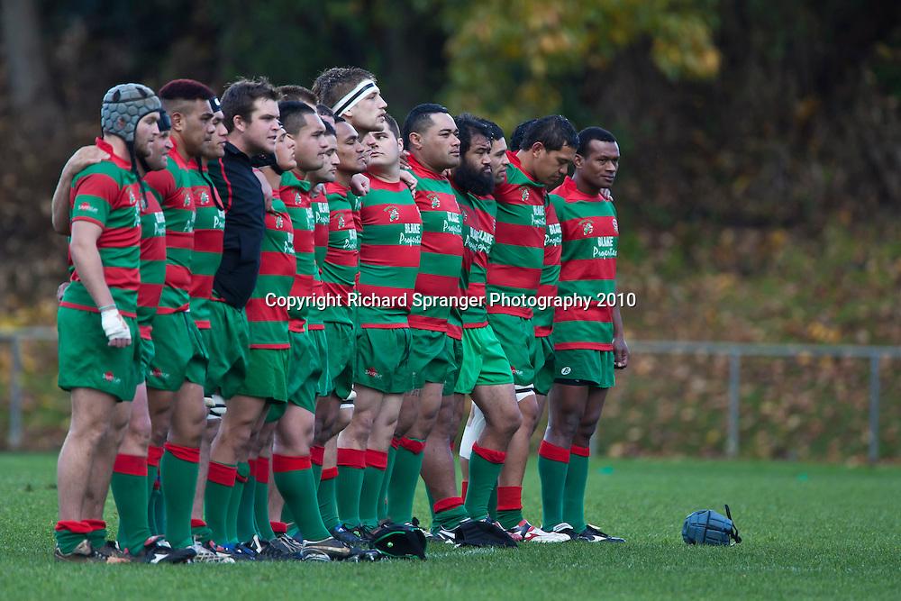 Waiuku stand for the National anthem before the Counties Manukau McNamara Cup Premier Club Rugby final between Pukekohe andWaiuku, held at Bayer Growers Stadium, on Saturday July 17th. Waiuku won 25 - 20.