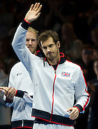 Andy Murray pictured waving to the fans before the second day of the Davis Cup by BNP Paribas match between Great Britain and Japan at the National Indoor Arena, Birmingham, England.<br /> Picture by Anthony Stanley/Focus Images Ltd 07833 396363<br /> 05/03/2016