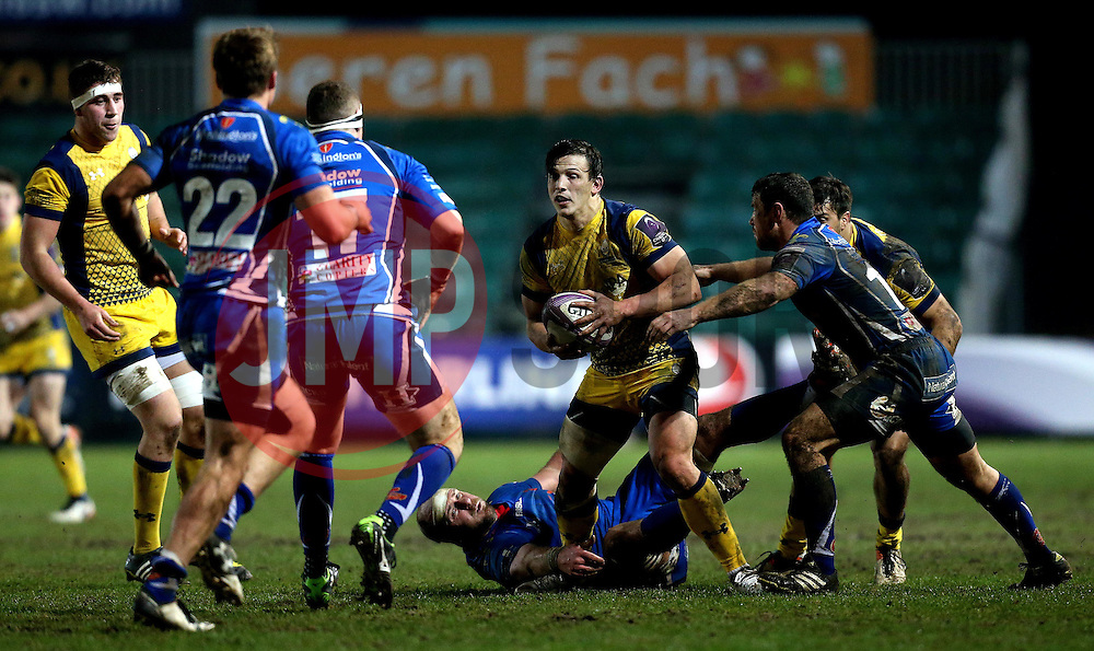 Ryan Mills of Worcester Warriors runs with the ball - Mandatory by-line: Robbie Stephenson/JMP - 16/12/2016 - RUGBY - Rodney Parade - Newport, Wales - Newport Gwent Dragons v Worcester Warriors - European Rugby Challenge Cup