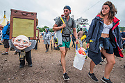 Many weird activities in teh circus field - The 2017 Glastonbury Festival, Worthy Farm. Glastonbury, 24 June 2017