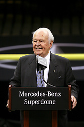 04 October 2011. New Orleans, Louisiana, USA.  <br /> Saints owner Tom Benson. NFL's New Orleans Saints announce a multi million dollar deal with Mercedes-Benz for naming rights on the Louisiana Superdome. Now the Mercedes-Benz Superdome. <br /> Photos; Charlie Varley/varleypix.com