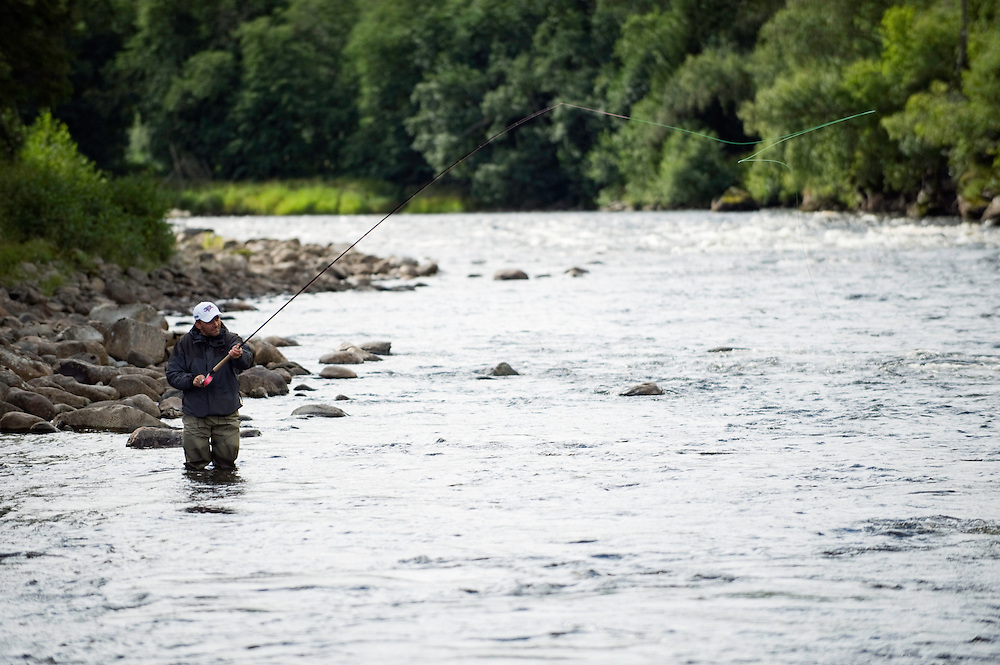 Flyfishing in River Orkla, Rennebu, Norway<br /> Vegard Heggem-Model release form valid by photographer