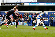 Sunderland goalkeeper Jason Steele (1) handles the ball outside of the area to stop QPR midfielder Paul Smyth (37) having an open goal during the EFL Sky Bet Championship match between Queens Park Rangers and Sunderland at the Loftus Road Stadium, London, England on 10 March 2018. Picture by Andy Walter.