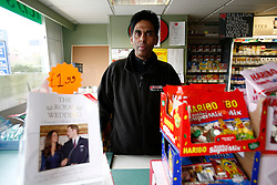 UK ENGLAND BERKSHIRE UPPER BUCKLEBURY 22MAR11 - Hash Shingadia (52) at his Spar store in Upper Bucklebury, Berkshire, England. He took over the village's Peaches Store 13 years ago and is the proud recipient of an invite to the Royal Wedding of Kate Middleton and Prince William...jre/Photo by Jiri Rezac..© Jiri Rezac 2011