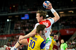 Niclas Ekberg of Sweden vs Sander Sagosen of Norway during handball match between National teams of Sweden and Norway on Day 7 in Main Round of Men's EHF EURO 2018, on January 24, 2018 in Arena Zagreb, Zagreb, Croatia.  Photo by Vid Ponikvar / Sportida