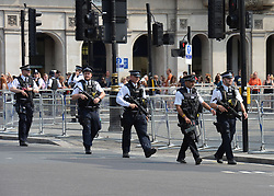 Armed police in Westminster ahead of the State Opening of Parliament, in the House of Lords at the Palace of Westminster in London.