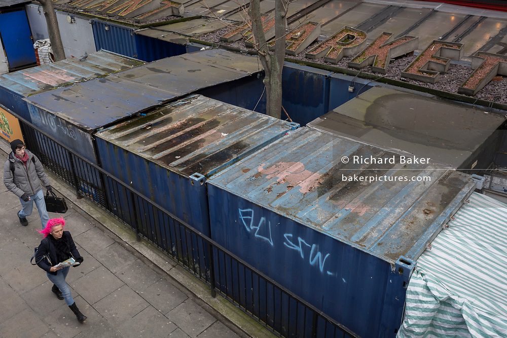 Ageing and ramshackle architecture at Elephant and Castle shopping centre, on 29th March, 2018 in London, England.