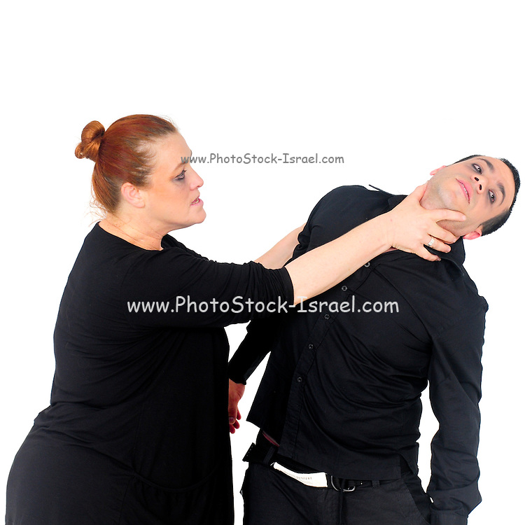 Domestic violence man and woman fight. Large aggressive  woman holds on to man's throat choking him. On white Background
