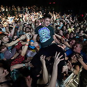 March 28, 2012 - New York, NY : British dubstep music producer / Skream crowd surfs amidst the fans at the Best Buy Theater in Manhattan on Wednesday evening. CREDIT: Karsten Moran for The New York Times