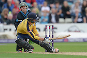 James Vince Scoops during the NatWest T20 Blast Quarter Final match between Worcestershire County Cricket Club and Hampshire County Cricket Club at New Road, Worcester, United Kingdom on 14 August 2015. Photo by David Vokes.