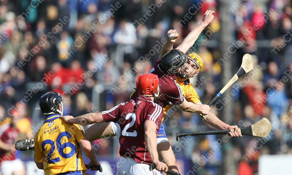 Clare Peter Duggan &amp; Galway's Aidan Harte in action during their NHL Div 1A Game played in Cusack Park Ennis..<br /> Pictured Credit Brian Gavin Press 22