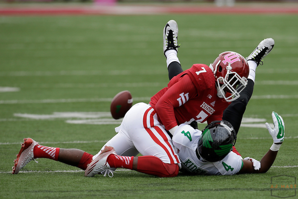 04 October 2014: Indiana Hoosiers Donovan Clark (7)  as the Indiana Hoosiers played North Texas in a NCAA college football game in Bloomington, IN.