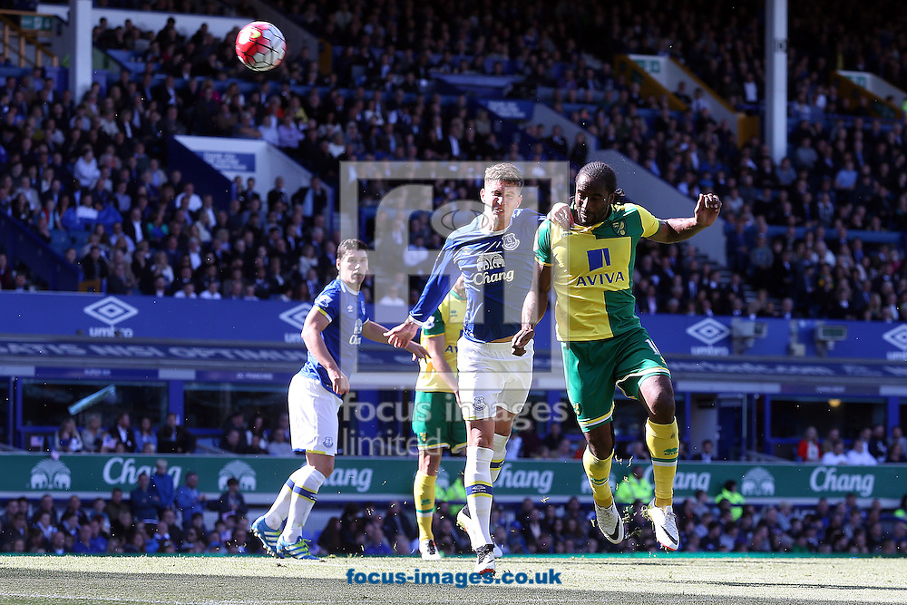 Cameron Jerome of Norwich heads for goal during the Barclays Premier League match at Goodison Park, Liverpool<br /> Picture by Paul Chesterton/Focus Images Ltd +44 7904 640267<br /> 15/05/2016
