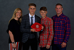 NEWPORT, WALES - Saturday, May 19, 2018: Bradley Gibbings and family during the Football Association of Wales Under-16's Caps Presentation at the Celtic Manor Resort. (Pic by David Rawcliffe/Propaganda)