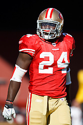 September 20, 2010; San Francisco, CA, USA;  San Francisco 49ers running back Anthony Dixon (24) warms up before the game against the New Orleans Saints at Candlestick Park. New Orleans defeated San Francisco 25-22.