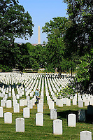 Arlington National Cemetery with Washington Monument in the background.