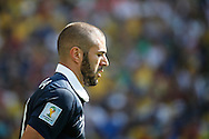 Karim Benzema of France looks on during the 2014 FIFA World Cup match between France and Germany at the Maracana Stadium, Rio de Janeiro<br /> Picture by Andrew Tobin/Focus Images Ltd +44 7710 761829<br /> 04/07/2014