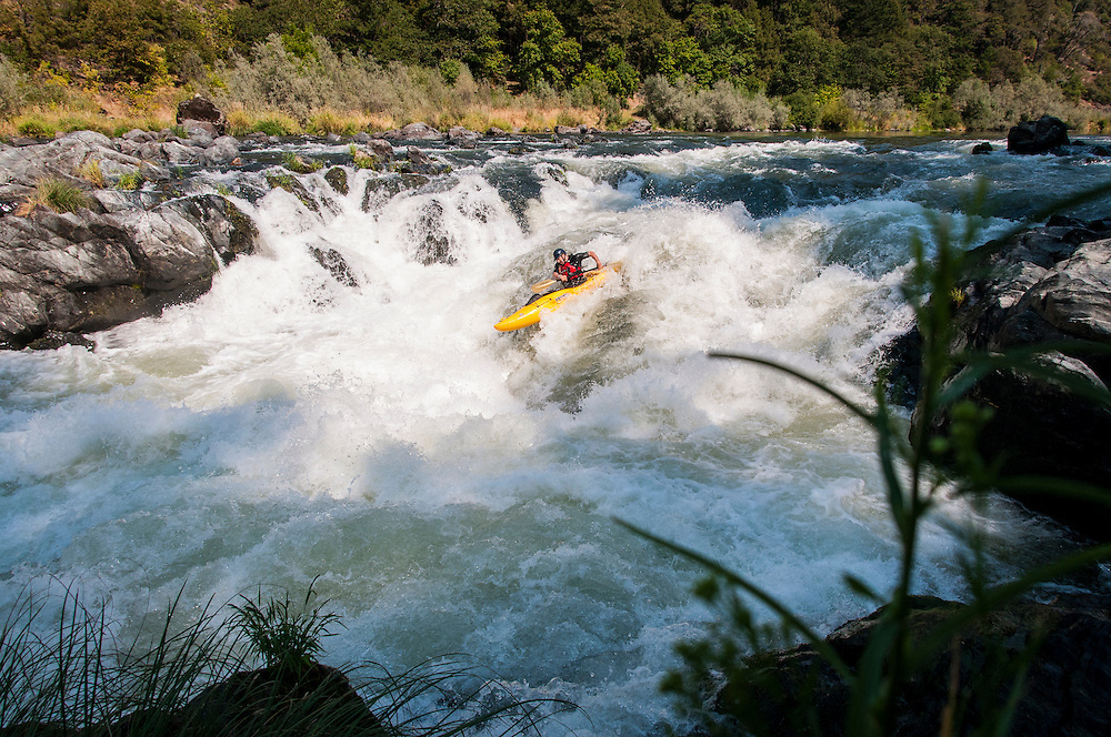 Dave Shively paddling Rainy Falls on the Rogue River, Oregon.