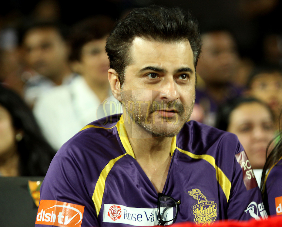Actor Sanjay Kapoor during the first Qualifying match of the Indian Premier League ( IPL) 2012  between The Delhi Daredevils and The Kolkata Knight Riders held at the Subrata Roy Sahara Stadium, Pune on the 22nd May 2012..Photo by Sandeep Shetty/IPL/SPORTZPICS