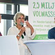 NLD/Zoetermeer/20170904 -  Opening week Alfabetiseringsweek, Pr. Laurentien in gesprek met 2 taalambassadeurs