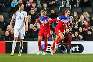 Alex Morgan of USA Women (right) celebrates scoring the opening goal against England Women during the International Friendly match at stadium:mk, Milton Keynes<br /> Picture by David Horn/Focus Images Ltd +44 7545 970036<br /> 13/02/2015