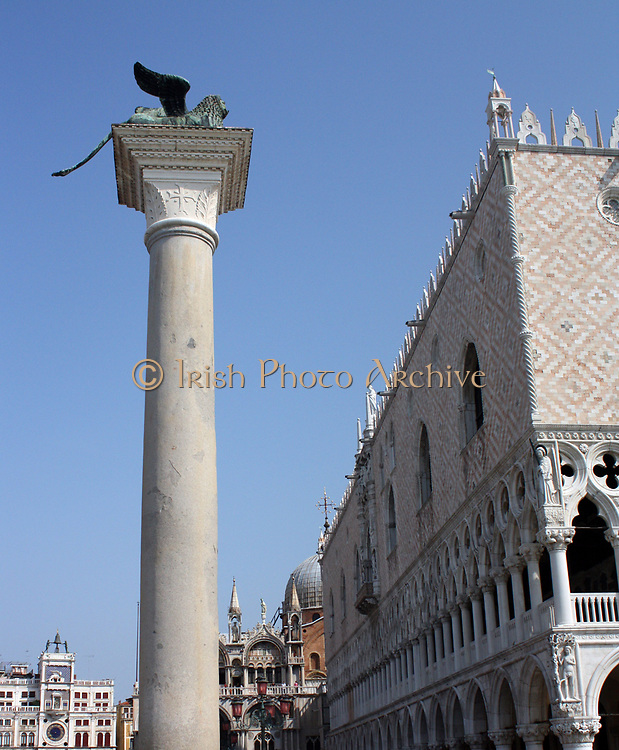The Piazzetta di San Marco is  an open space connecting the south side of the Piazza to the waterway of the lagoon. The Piazzetta lies between the Doge's Palace on the east and Jacopo Sansovino's Libreria which holds the Biblioteca Marciana on the west. The column has a creature representing the winged lion which is the symbol of St Mark. This has a long history, probably starting as a winged lion-griffin on a monument to the god Sandon at Tarsus in Cilicia (Southern Turkey) about 300 BC. The columns are now thought to have been erected about 1268,