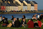 Spanish Arch, traditional meeting place for local people and tourists in late afternoon. Galway is the younghest city of Ireland for his university.