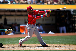 OAKLAND, CA - JUNE 21:  Erick Aybar #2 of the Los Angeles Angels of Anaheim at bat against the Oakland Athletics during the fourth inning at O.co Coliseum on June 21, 2015 in Oakland, California. The Oakland Athletics defeated the Los Angeles Angels of Anaheim 3-2. (Photo by Jason O. Watson/Getty Images) *** Local Caption *** Erick Aybar