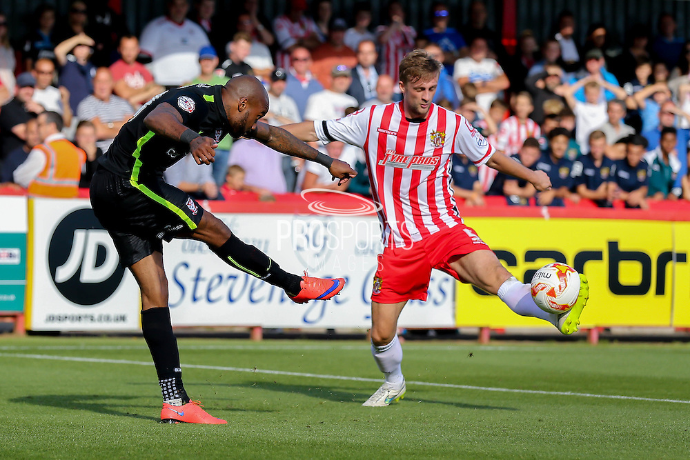 York City forward Emile Sinclair wins the corner from Stevenage Defender Fraser Franks during the Sky Bet League 2 match between Stevenage and York City at the Lamex Stadium, Stevenage, England on 12 September 2015. Photo by Simon Davies.