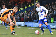 Bury Forward, Ryan Lowe on the ball looking for a way past the Hull defence during the The FA Cup fourth round match between Bury and Hull City at Gigg Lane, Bury, England on 30 January 2016. Photo by Mark Pollitt.