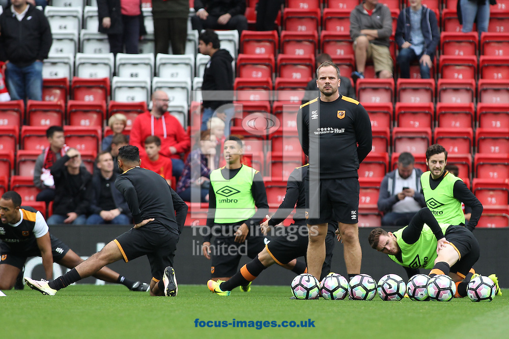 The Hull City players warm up prior to the Premier League match against Liverpool at Anfield, Liverpool.<br /> Picture by Michael Sedgwick/Focus Images Ltd +44 7900 363072<br /> 24/09/2016