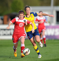 Bristol Academy's Christie Murray battles for the ball with Arsenal Ladies' Casey Stoney - Photo mandatory by-line: Paul Knight/JMP - Mobile: 07966 386802 - 09/05/2015 - SPORT - Football - Bristol - Stoke Gifford Stadium - Bristol Academy Women v Arsenal Ladies FC - FA Women's Super League