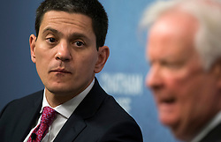 © Licensed to London News Pictures. 03/02/2016. London, UK. President and CEO, International Rescue Committee DAVID MILIBAND (L) and Lord MICHAEL WILLIAMS of Baglan (R) speaking at Chatham House in London about the current refugee crisis, five years on from the beginning of the Syria conflict.  Photo credit: Ben Cawthra/LNP