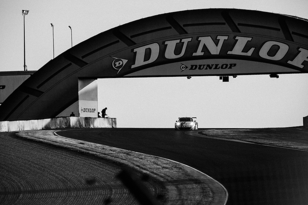 The Dunlop bridge at the 2014 Le mans 24 race. Le Mans 24 race. Le Mans, France, 14th June 2014. Photo by Greg Funnell.