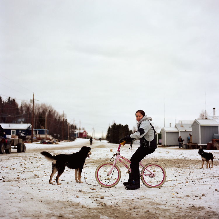 My favorite part about living in Shungnak, [Alaska] is probably all the good food, the hunting, and all the fish and caribou we get. I help my sister cut meat, we go pick berries, and I help them fish and hang fish. Myfavorite is probably caribou— that's the best. It's best to dry it and dehydrate the meat; it makes a really good jerky. — Jerrilyn Cleveland is Inupiaq from Shungnak, Alaska.