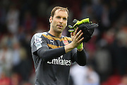 Petr Čech of Arsenal applauds the Arsenal fans after the Barclays Premier League match between Crystal Palace and Arsenal at Selhurst Park, London, England on 16 August 2015. Photo by Phil Duncan.
