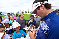 January 08 2015: Bubba Watson signs some autographs after his round during the Pro-Am for the Hyundai Tournament of Champions at Kapalua Plantation Course on Maui, HI.