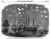 Russo-Turkish (Crimean) WAR 1853-6. Peace commemorations at Plymouth, England. Rockets and general illumination of the fleet in Plymouth sound. From 'The Illustrated London News', 1 June 1856.