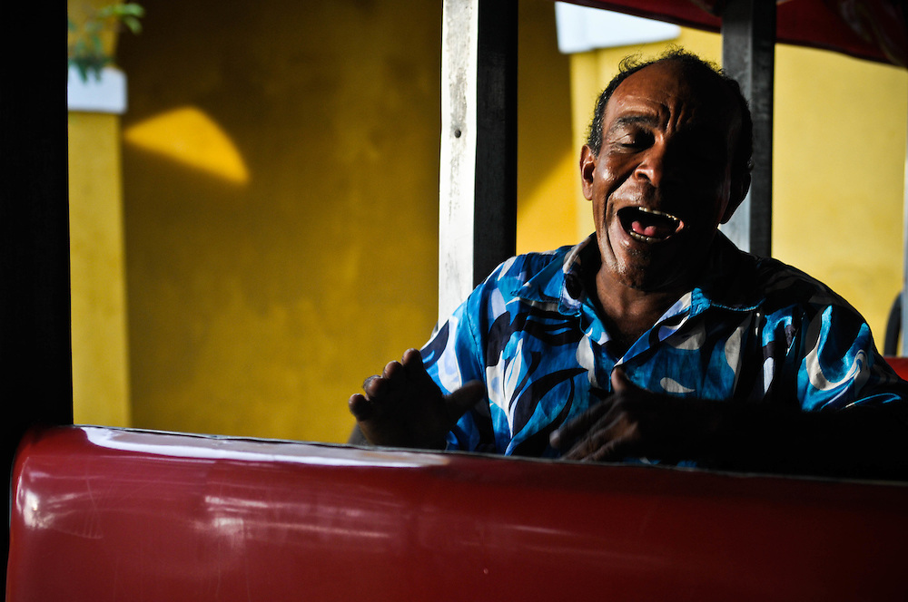 A Chiva Bus singer in Cartagena, Colombia taken while traveling with Overseas Adventure Travel.