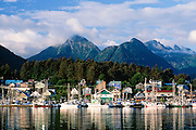 Alaska. Sitka. Sitka Channel, the ANB Harbor and Sisters Mts beyond.