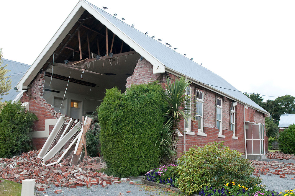 The Opawa Community Church Hall after the 6.3 Earthquake, Christchurch, New Zealand, Wednesday, February 23, 2011. Credit:SNPA / David Alexander.