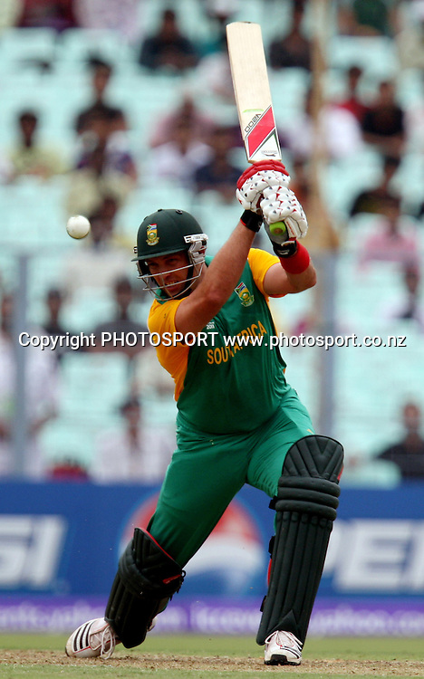 South African batsman Jacques Kallis plays a shot against Ireland during the ICC Cricket World Cup - 34th Match, Group B South Africa vs Ireland Played at Eden Gardens, Kolkata, 15 March 2011 - day/night