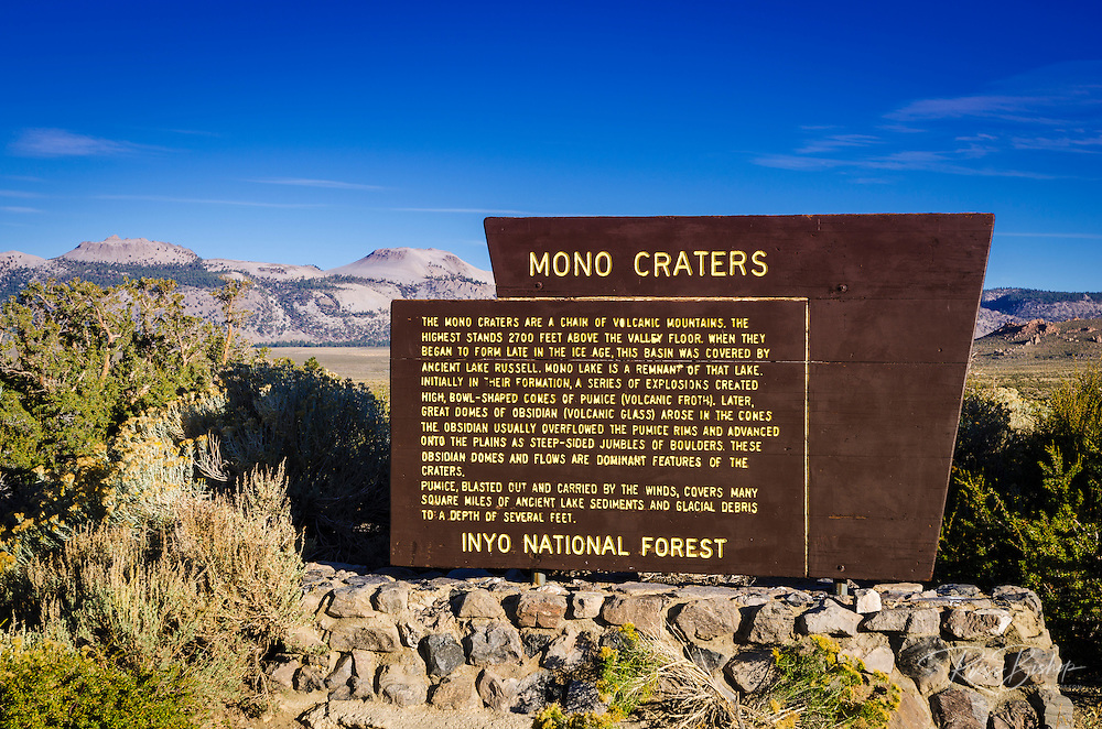 Interpretive sign at Mono Craters, Inyo National Forest, California USA