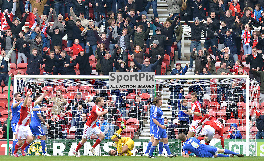Boro players chase scorer Albert Adomah after he puts his side 2-1 up...(c) BILLY WHITE | SportPix.org.uk