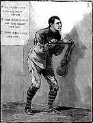 Prison discipline: Dartmoor prisoner doing solitary punishment at the crank handle. Illustration published London 1884. Wood engraving