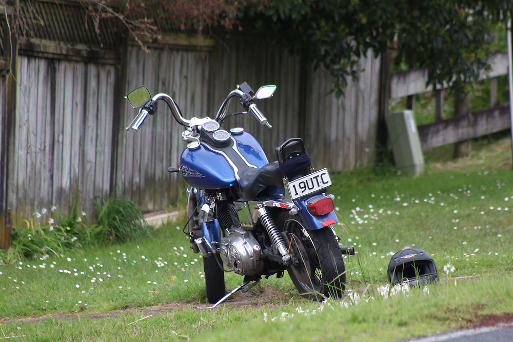 A motorcyclist is dead after a serious crash on Candia Road, Henderson, Auckland, New Zealand, Saturday, October 10, 2015.  Credit:SNPA / Daniel HInes